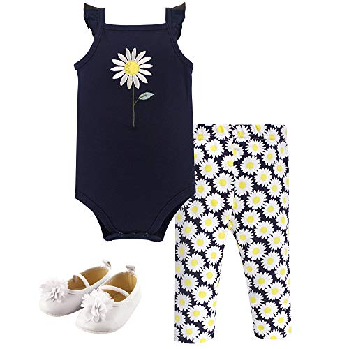 Hudson Baby Baby Bodysuit, Pants/Shorts and Shoes, Daisy 3-Piece Set, 9-12 Months (12M)