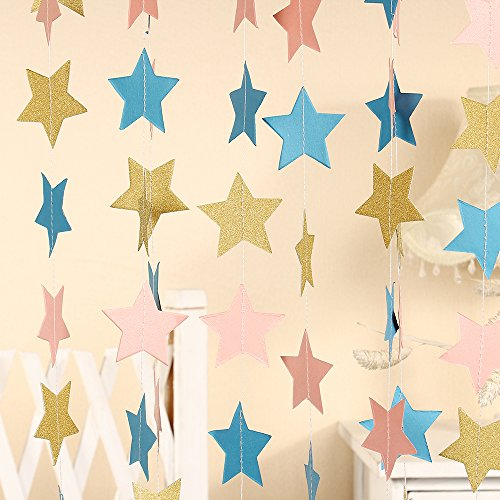 ZOOYOO Paper Five-Pointed Star Garland Hanging Decor, Five-Pointed Star Event & Party Supplies,2 high,9.8-Feet,Sky Blue Pink Gold,2pcs