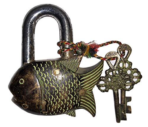 (Laxman Art Fish Shaped Brass Lock Padlock, Handmade Antique Design, Unique Collectible Combination of Style & Security with 2 Keys)