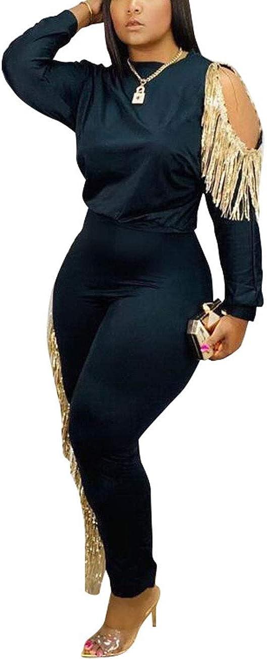 Womens 2 Piece Tracksuit Tassel Cold Shoulder Long Sleeve Pullover Top Skinny Pants Set