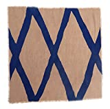 Gitika Goyal Home Windows Collection Cotton Khadi  Khaki Napkin 17x17 Diamond Design, Blue Hand Screen Print