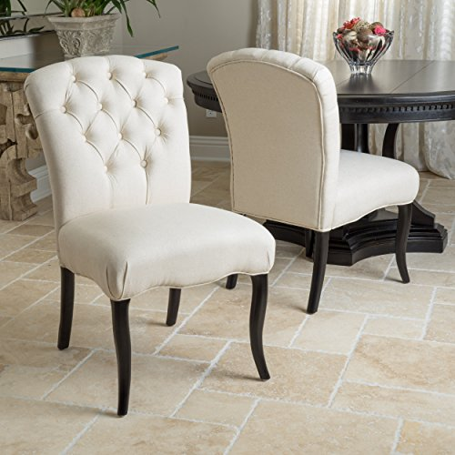 Jaelynn Linen Colored Fabric Dining Chairs Set of 2