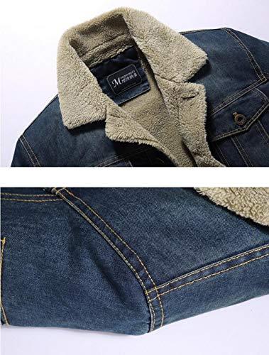 Lunga Sottile Di Giacca Mens Jean Manica Pelliccia Di Fit Cowboy Strato Del Collo Inverno Blu Jeans Nbnnb Calda Multi Tasche Leggero FvnYBtA