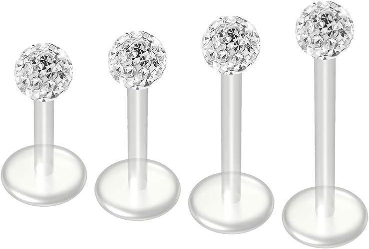 "16g 1//4/"" Steel Ball Labret Lip Monroe Ear Tragus Externally Threaded 3MM Ball"