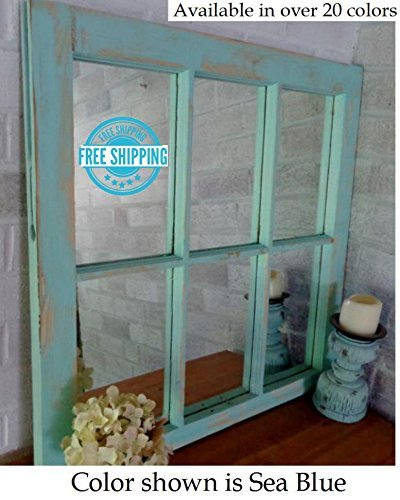 Renewed Decor Rustic Country Authentic 6 Pane Window Mirror Available in 20 colors - 29
