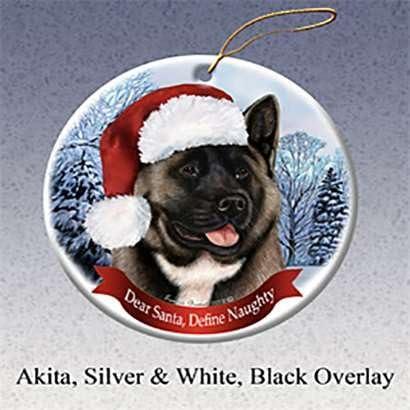 Black and Silver Akita Dog Porcelain Ornament Pet Santa I Can Explain!/'