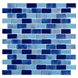 Brava Tides Glossy Blue Glass Mosaic Tiles