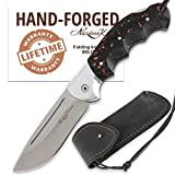 Folding Knife – Pocket Knife Eagle – Stainless Steel – Acrylic Handle – Durable Leather Sheath