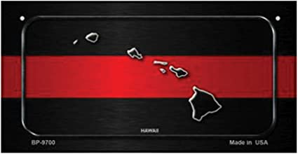 Hawaii Thin Red Line Novelty Metal License Plate