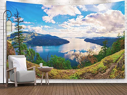 Wall Art Hanging Tapestry,Pamime Home Decor Tapestry Panoramic view Maple Bay Islands in The Pacific Ocean Taken Vancouver Island Dorm Room Bedroom Living Room 80x60 Inches(200x150cm)Bedspread InHouse