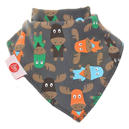 Zippy Fun Baby and Toddler Bandana Bib - Absorbent 100% Cotton Front Drool Bibs with Adjustable Snaps (4 Pack Gift Set) Boys Woodland Animals