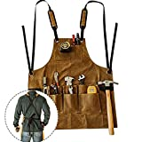 Waxed Canvas Work Apron, Heavy Duty Aprons Professional Cross-Back Straps Adjustable Apron with Pockets Water-resistant Gardening Tool Apron for Men & Women with Pockets