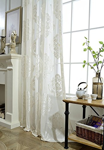 Sheer Curtain Panels for Living Room 84 inch Long Floral Semi-Shading Flocked Fabric Sheer Voile Tulle Drape Curtains for Bedroom Rod Pocket Top, 1 Panel, 54x84 inch ()