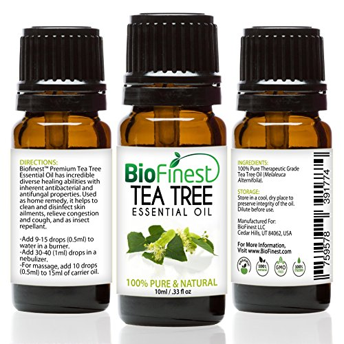 BioFinest Tea Tree Oil - 100% Pure Tea Tree Essential Oil - Therapeutic Grade - Australia Premium Quality - Best For Aromatherapy, Acne & Skin Tag Removal - Gift and Travel Packaging (10ml)