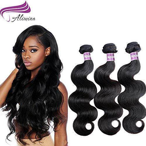 Alimina 8A Brazilian Body Wave Bundles Virgin Body Wave Human Hair Bundles Natural Color 3 Bundle Body Wave(16 18 20)