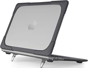 ProCase MacBook Air 13 Inch Case 2020 2019 2018 Release A2179 A1932, Heavy Duty Slim Hard Shell Dual Layer Protective Cover with Fold Kickstand for Apple MacBook Air 13 Retina with Touch ID -Black