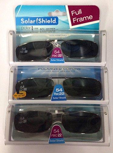 3 SOLAR SHIELD Clip-on Polarized Sunglasses 54 Rec 22 Scratch- Resistant Black Full Frame