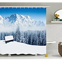 Where Can I Buy Unique Pictures of A beautiful deep forest snow scene Polyester Waterproof Shower Curtain-Bathroom Accessoriess 72x72