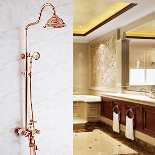 LCLZ European Shower Set Copper Gold Shower Shower Faucet Bathroom Rose Gold Cold Water Shower Rain Shower Fixed Showerheads (Color : Rose Gold) ()