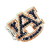 Auburn Tigers Stretch Band Ring with Blue and Orange Crystal Rhinestones Logo