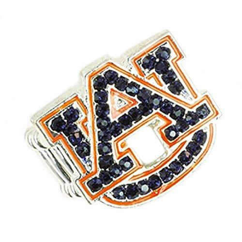 Auburn Tigers Stretch Band Ring with Blue and Orange Crystal Rhinestones Logo by Seasons Jewelry