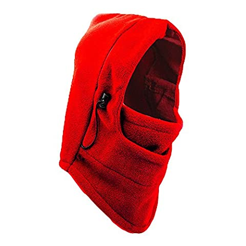 Sub-Zero Degree Balaclava Face Mask, Winter Fleece Windproof Sports Fleece mask for Men and Women by One & Only USA (Red - 1 Mask)