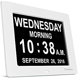 INNOCLOCK - Most Advanced - Superior Quality - Calendar Day Digital Clock - Large, Clear, Unabbreviated Time and Date - Ideal for Memory Loss, Impaired Vision and Seniors (White, 8-inch)