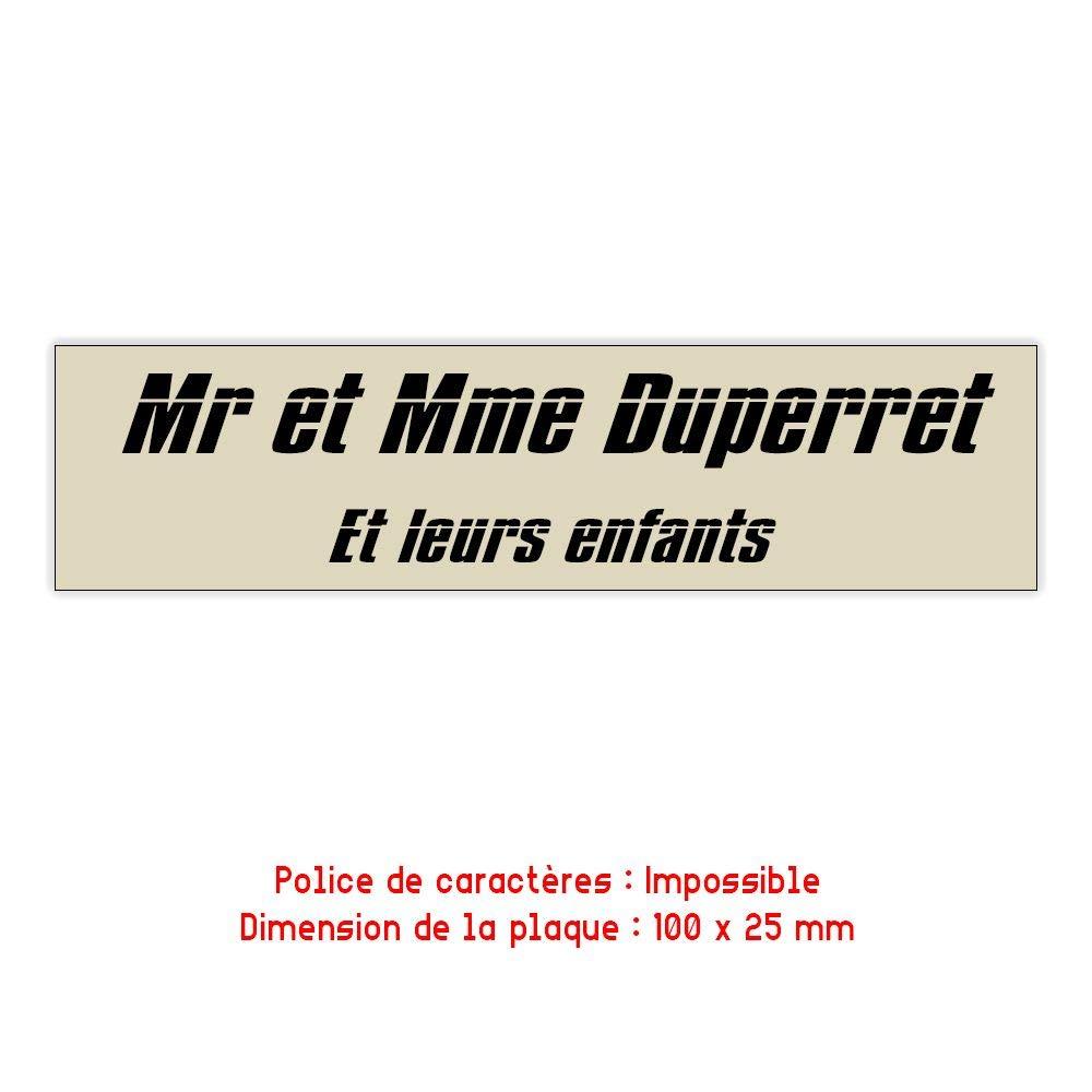Lettres noires 2,5 cm Plaque rouge rouge lettres noires 100x25mm plaque boite aux lettres Decayeux 2 lignes