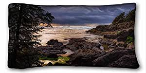 Soft Pillow Case Cover Nature Custom Cotton & Polyester Soft Rectangle Pillow Case Cover 20x36 inches (One Side) suitable for Queen-bed