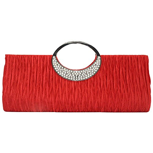 Silver Wonderful Formal Black Bag Clutch Evening Diamante Handbag Wedding Red Ladies wocharm Glittery wEtIOnxqdd