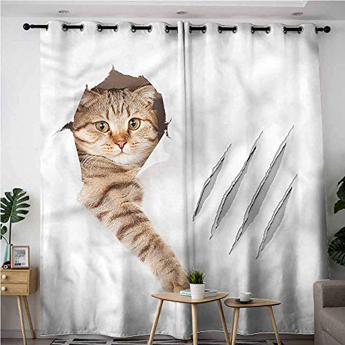 BE.SUN Indoor/Outdoor Curtains,Animal,Funny Cat in Wallpaper Hole,Curtains for Living Room,W84x72L