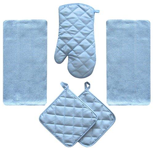 JJ Linens 5 Piece Sky Blue Kitchen Linen Towel Set Solid Colors Better Quality Cotton Poly with Potholders Oven Mitt (Kitchen Lights Blue)