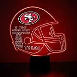 Mirror Magic Store San Francisco 49ers Football Helmet LED Night Light with Free Personalization - Night Lamp - Table Lamp - Featuring Licensed Decal
