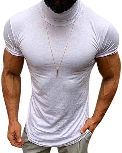 Camisa Delgada para Hombre Camiseta De Manga Corta Cuello Redondo Camiseta De Verano con Cuello Alto: Amazon.es: Ropa y accesorios