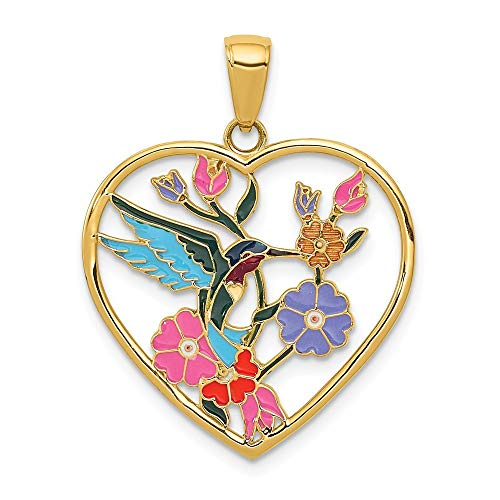 14K Yellow Gold Enameled Hummingbird with Flowers Heart Pendant from Roy Rose Jewelry