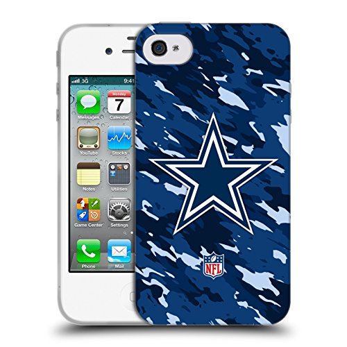 Official NFL Camou Dallas Cowboys Logo Soft Gel Case for Apple iPhone 4 / 4S - Nfl Iphone 4 Case