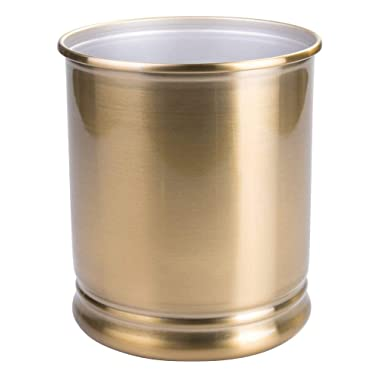 mDesign Decorative Metal Round Small Trash Can Wastebasket, Garbage Container Bin - for Bathrooms, Powder Rooms, Kitchens, Home Offices - Soft Brass