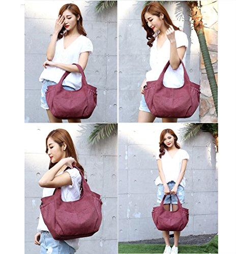 Super moderno para mujer Casual bolsas de hombro bolsa de lona bolso de mano Totes Hobos top-hanle bolsa bolsa de la compra bolsa crossbody bolsa, mujer, marrón Purple Red