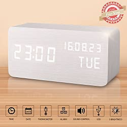 Desk Clock, Displays Time Date Week And Temperature, Cube Wood-shaped Sound Control Desk Alarm Clock for Kid, Home, Office, Daily Life, Heavy Sleepers (White)