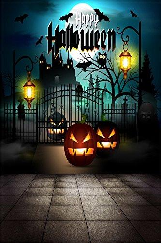 Leowefowa 3X5FT Happy Halloween Backdrop Haunted Castle Backdrops