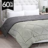 Alternative Comforter - Full/Queen Reversible Comforter Duvet Insert with Corner Ties-Quilted Down Alternative Comforter Diamond Stitching Design Smoky Grey/Light Grey 88
