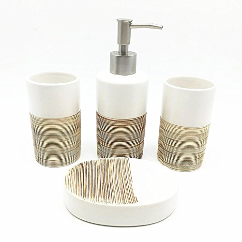 Haosensix 5Pc Bath Accessory Sets- Decorative Lotion Dispenser/Dish/Tumbler/Toothbrush Holder,Durable Accessories Set, Best Bathroom Decorating Ideas- Gift Packaged- Great Christmas Gift