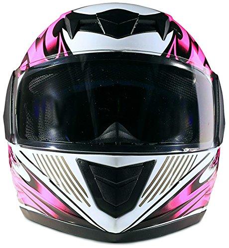 Youth Kids Full Face Helmet with Shield Motorcycle Street MX Dirtbike ATV - Pink (XL) by Typhoon Helmets (Image #4)