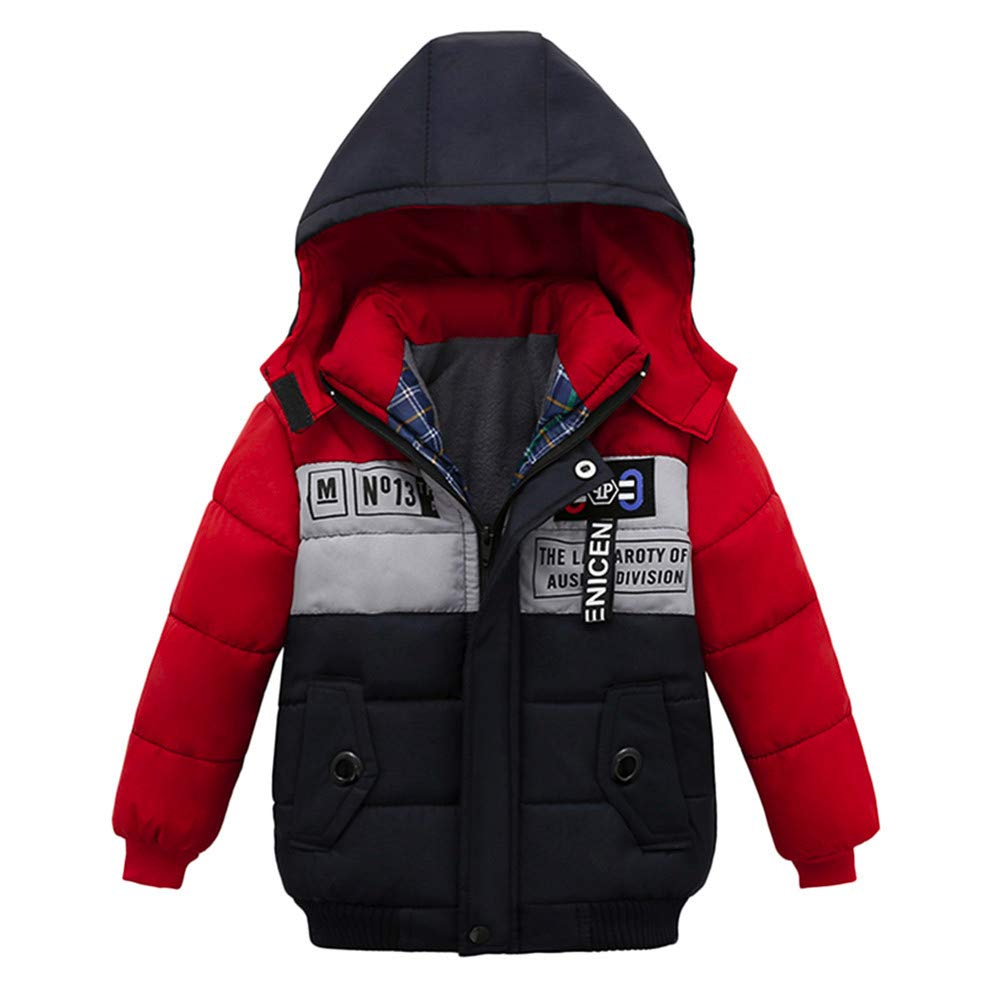 OUBAO Baby Coat Cute Design Childrens Long-Sleeved Hooded Cotton Stitching Color Letter Printed Cotton Coat Jacket