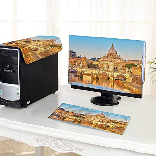 Tiber Collection - Auraisehome Computer dustproof Three-Piece Collection Tiber and St Peter Landmark Monument Sunny Touristic Travel Destination View Pr for LED LCD Screens Flat Panel HD Display /18