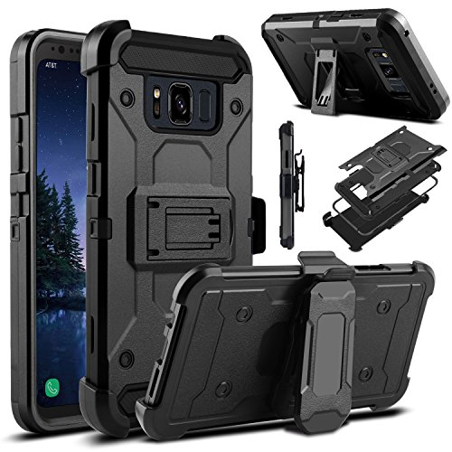 Protector Case Shield Rubberized Black (Galaxy S8 Active Case, Venoro Heavy Duty Armor Shockproof Rugged Protection Case Cover with Belt Swivel Clip and Kickstand for Samsung Galaxy S8 Active 5.8