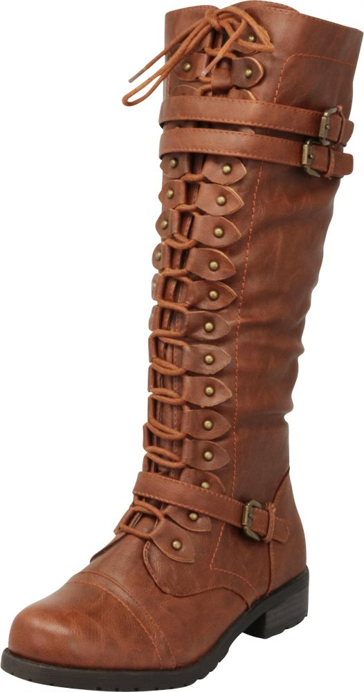 Cambridge Select Women's Lace-Up Strappy Knee High Combat Stacked Heel Boot B0743J4971 7.5 B(M) US|Cognac Pu