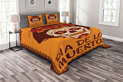 Lunarable Skull Bedspread Set Queen Size, Frame with Mexican Skull Girl Hairstyle Carnival Smile Ornate Party Dance, Decorative Quilted 3 Piece Coverlet Set with 2 Pillow Shams, Maroon Dark Orange by Lunarable