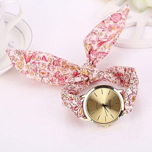 Landfox Floral Jacquard Cloth Girl Quartz Dial Bracelet Wristwatch Watch(Pink