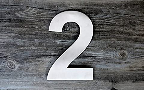 QT Modern House Number - SUPER LARGE 12 Inch - Brushed Stainless Steel (Number 2 Two), Floating Appearance, Easy to install and made of solid (Steel House Numbers)